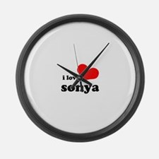 i love sonya Large Wall Clock