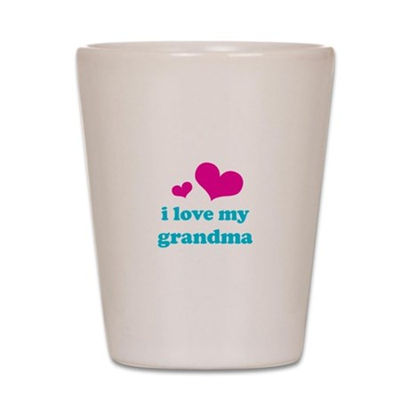 i love my grandma (pink/blue) Shot Glass
