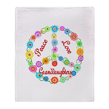 Peace Love Granddaughters Throw Blanket