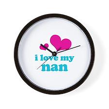 i love my nan (pink/blue) Wall Clock