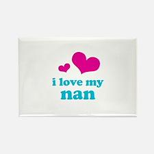 i love my nan (pink/blue) Rectangle Magnet