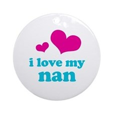 i love my nan (pink/blue) Ornament (Round)