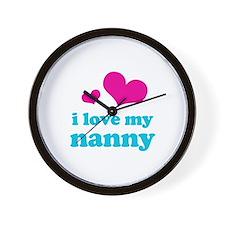 i love my nanny (pink/blue) Wall Clock