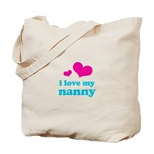 i love my nanny (pink/blue) Tote Bag