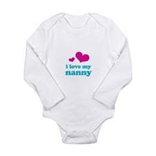 i love my nanny (pink/blue) Long Sleeve Infant Bod