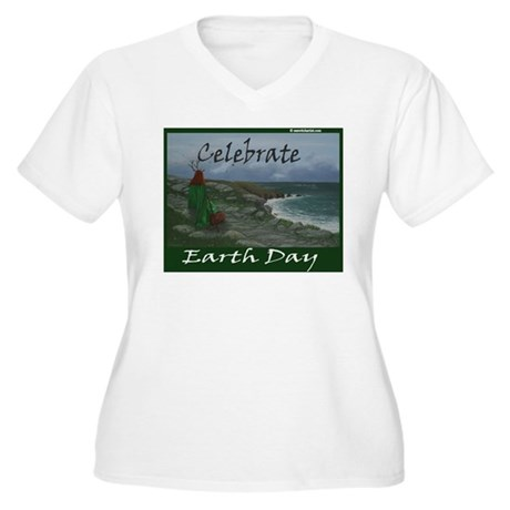Women's Plus Size V-Neck Earth Day T-Shirt