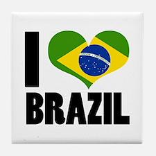 I Heart Brazil Tile Coaster