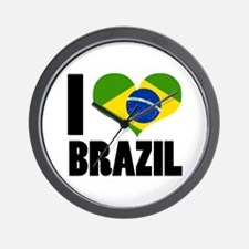 I Heart Brazil Wall Clock