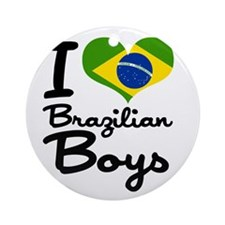I Heart Brazilian Boys Ornament (Round)