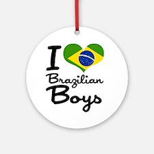 I Heart Brazilian Boys Ornament (Round)