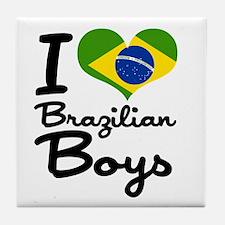 I Heart Brazilian Boys Tile Coaster