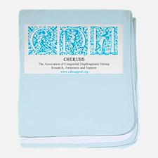 Turquoise Victorian CDH Awareness Logo baby blanke