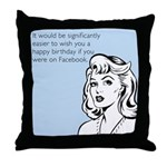 Happy Birthday on Facebook Throw Pillow