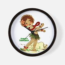 Cute Retro hula girl Wall Clock