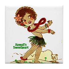 Cute Retro hula girl Tile Coaster