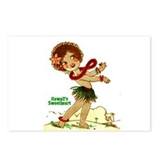 Cute Retro hula girl Postcards (Package of 8)