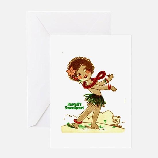 Cute Retro hula girl Greeting Card