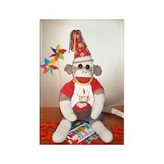 Ernie the Sock Monkey Birthday Rectangle Magnet
