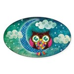 My Crescent Owl Sticker (Oval)
