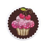 "Cherry Berry Cupcake 3.5"" Button"