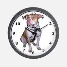 White Pit Bull Wall Clock