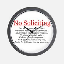 No Soliciting Wall Clock