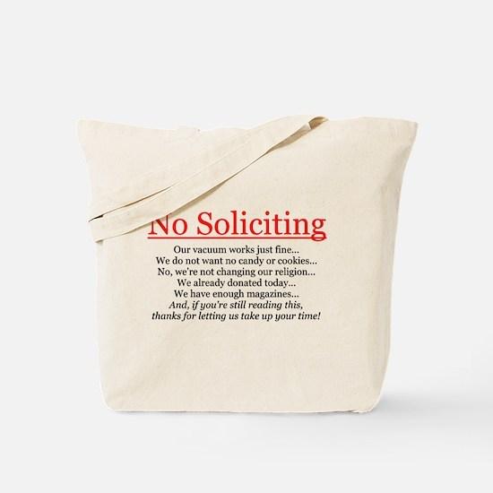 No Soliciting Tote Bag