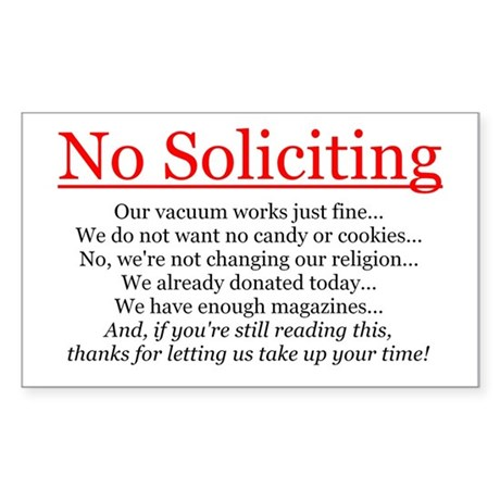 No Soliciting Sticker (Rectangle)
