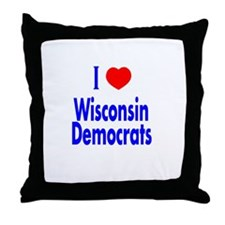I Love Wisconsin Democrats Throw Pillow