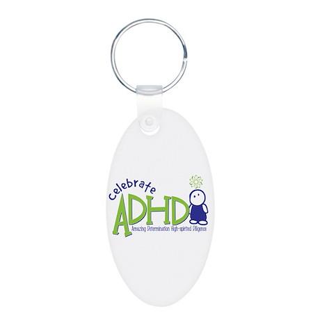 Celebrate ADHD Aluminum Oval Keychain