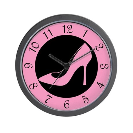 Pink High Heel Shoe Wall Clock