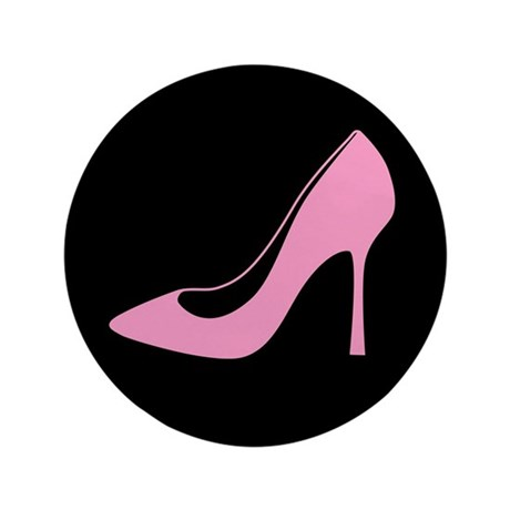 "Pink High Heel Shoe 3.5"" Button"