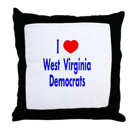 I Love West Virginia Democrat Throw Pillow