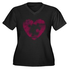 PIECE OF MY HEART Women's Plus Size V-Neck Dark T-