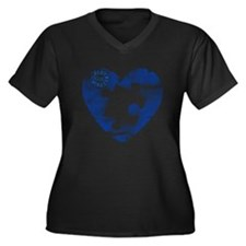 PIECE OF MY HEART Women's Plus Size V-Neck Dark T-