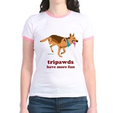 Tripawds Have More Fun Jr. Ringer T-Shirt
