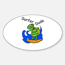 Surfer Dude Sticker (Oval)