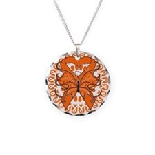 Leukemia Butterfly Necklace Circle Charm