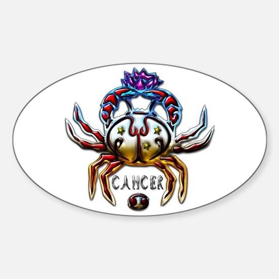 Cancer Crab Zodiac Art Sticker (Oval)