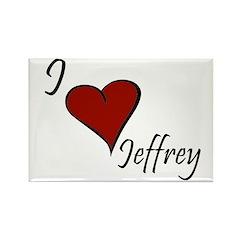 I love Jeffrey Rectangle Magnet (100 pack)