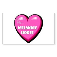 I Love My Icelandic Horse Rectangle Decal