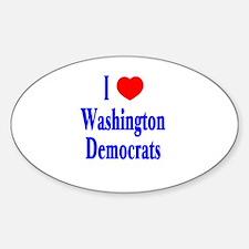 I Love Washington Democrats Oval Decal