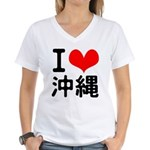 I Love Okinawa Women's V-Neck T-Shirt