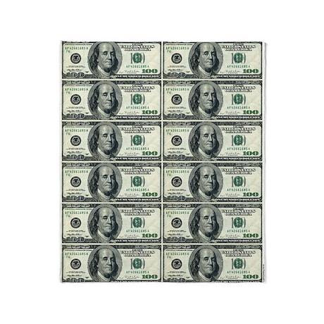 Throw Blanket - One Hundred Dollar Bills