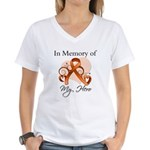 In Memory Hero Leukemia Women's V-Neck T-Shirt