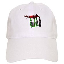 Red Wine Spilling from Bottle Baseball Cap