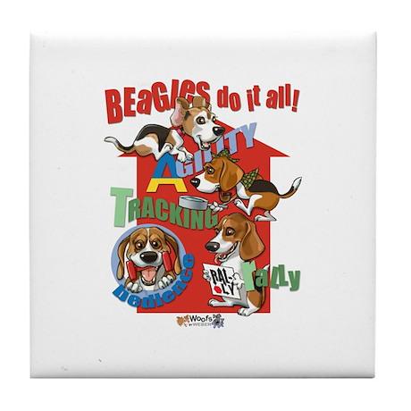 Beagles Do It All Tile Coaster