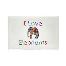 I Love Elephants Rectangle Magnet (100 pack)
