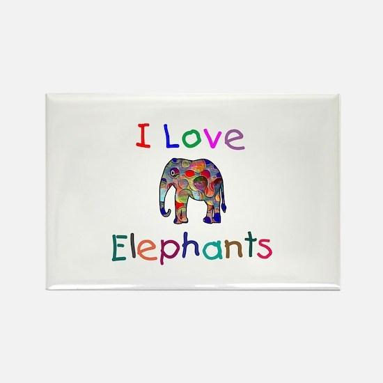 I Love Elephants Rectangle Magnet (10 pack)