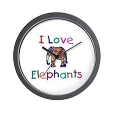 I Love Elephants Wall Clock
